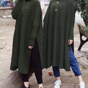 Γυναικείο μακρύ μπλουζοφόρεμα 09845 χακί