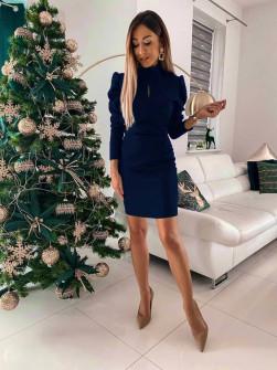 Γυναικείο εφαρμοστό φόρεμα 8047 σκούρο μπλε