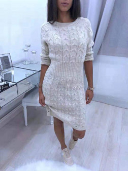 Γυναικείο πλεκτό φόρεμα 1028 μπεζ