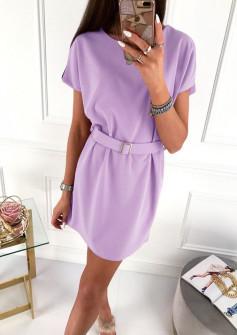 Γυναικείο φόρεμα με ζώνη 5055 λιλά