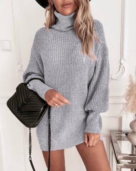 Γυναικείο πλεκτό μπλουζοφόρεμα 8990 γκρι