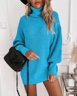 Γυναικείο πλεκτό μπλουζοφόρεμα 8990 γαλάζιο