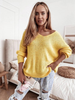 Γυναικείο μονόχρωμο πουλόβερ 83771  κίτρινο