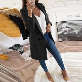 Γυναικείο στιλάτο παλτό 18829 μαύρο