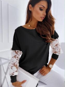 Γυναικεία μπλούζα με δαντέλα 19636 μαύρη