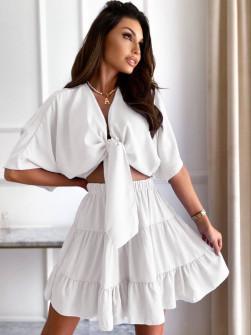 Γυναικείο σετ πουκάμισο και φούστα 14824 άσπρο