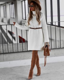 Γυναικείο πλεκτό μπλουζοφόρεμα 00811 άσπρη
