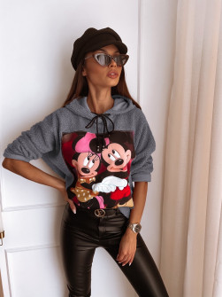Γυναικεία χνουδωτή μπλούζα με στάμπα 13786 γκρι