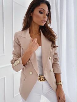Γυναικείο σακάκι με χρυσά κουμπιά 3909 μπεζ