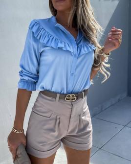 Γυναικείο εντυπωσιακό πουκάμισο 5898 γαλάζιο