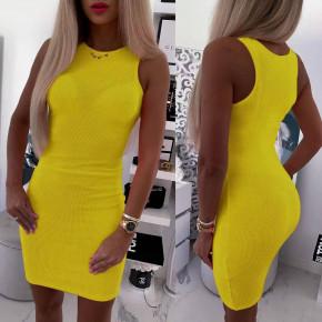 Γυναικείο εφαρμοστό φόρεμα 5582 κίτρινο