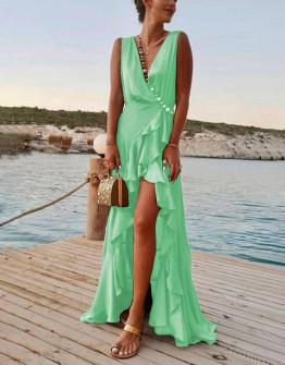 Γυναικείο μακρύ φόρεμα με σκίσιμο 8200 ανοιχτό πράσινο