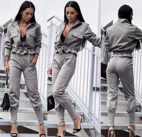 Γυναικείο σετ βελουτέ ζακέτα-παντελόνι 5962 γκρι
