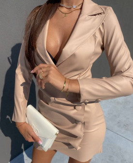 Γυναικείο δερμάτινο φόρεμα 21852 μπεζ