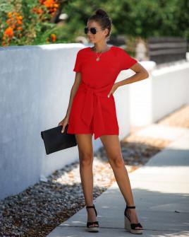 Γυναικεία ολόσωμη φόρμα με ζώνη κορδέλα 5085 κόκκινη