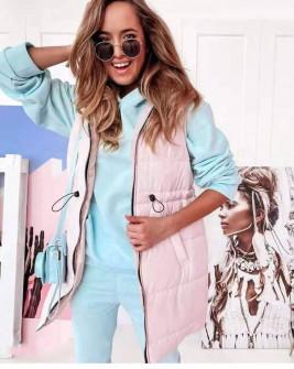 Γυναικείο αμάνικο μπουφάν με λάστιχο στη μέση 82059 ροζ