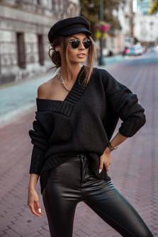 Γυναικείο χαλαρό πουλόβερ 9530 μαύρο