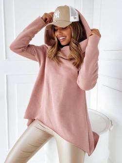 Γυναικείο μπλουζοφόρεμα με μεγάλο γιακά 13664 ροζ