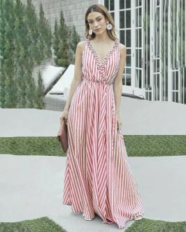 Γυναικείο φόρεμα ριγέ 5641 ροζ
