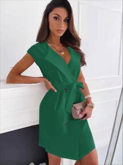 Γυναικείο φόρεμα με κουμπιά και ζώνη 5720 πράσινο