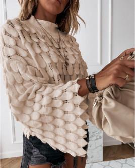 Γυναικείο πουλόβερ με φαρδύ μανίκι 00695μπεζ