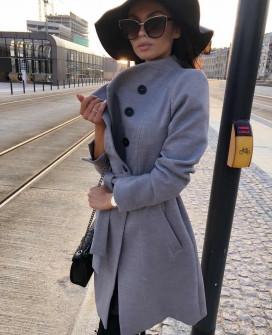 Γυναικείο παλτό με κουμπιά και ζώνη 18915 γκρι
