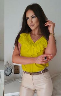 Γυναικεία μπλούζα με βαθύ ντεκολτέ 32941 κίτρινη