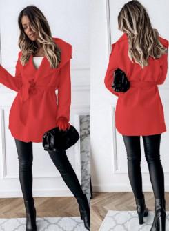 Γυναικείο παλτό με ζώνη χωρίς φόδρα 5290 κόκκινο