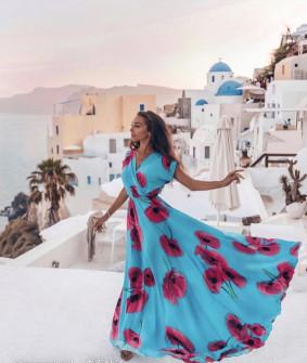 Γυναικείο μακρύ φόρεμα με print 5127