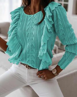 Γυναικείο πουλόβερ με εντυπωσιακό μανίκι 8801 τυρκουάζ