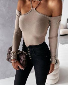 Γυναικεία εντυπωσιακή μπλούζα 4807 μπεζ