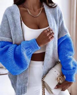Γυναικεία δίχρωμη ζακέτα 00889 μπλε