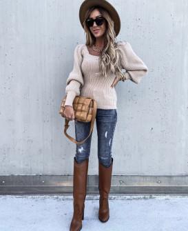 Γυναικείο πουλόβερ με φουσκωτό μανίκι 00758  μπεζ