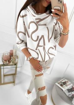 Γυναικείο φούτερ με φερμουάρ στον γιακά 4105 άσπρο
