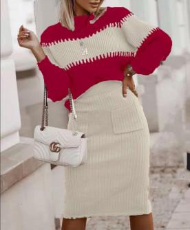 Γυναικείο σετ μπλούζα και φούστα 60055 κόκκινο