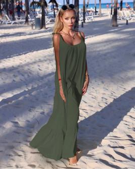 Γυναικείο μακρύ χαλαρό φόρεμα 4626 χακί