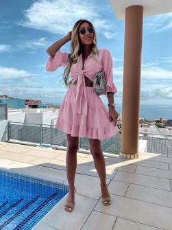 Γυναικείο σετ μπλούζα και φούστα 5104 ροζ
