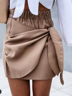 Γυναικεία εντυπωσιακή κοντή φούστα 55598 καμηλό
