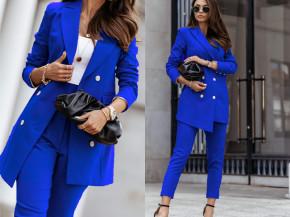 Γυναικείο σετ σακάκι και παντελόνι 8676 μπλε