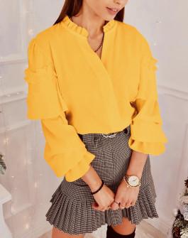 Γυναικεία μπλούζα με εντυπωσιακό μανίκι 3959 μουσταρδί
