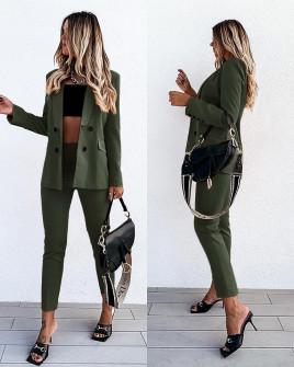 Γυναικείο σετ σακάκι με φόδρα και παντελόνι  5297 σκούρο πράσινο