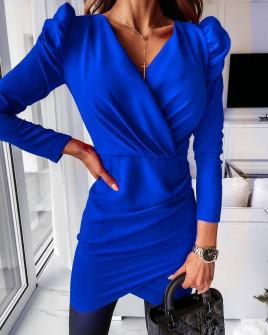 Γυναικείο φόρεμα με φουσκωτό μανίκι 8043 μπλε