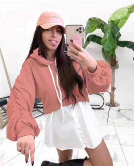 Γυναικείο φούτερ με όψη πουκαμίσου 2836 ροδακινί