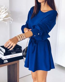 Γυναικείο χαλαρό φόρεμα με ζώνη 3140 μπλε