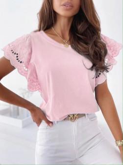 Γυναικεία μπλούζα με δαντέλα 20728 ροζ