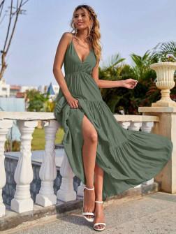 Γυναικείο μακρύ φόρεμα με βαθύ ντεκολτέ 5842 χακί