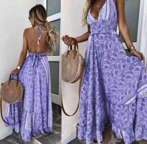 Γυναικείο μακρύ φόρεμα με σχέδια 500304
