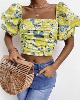Γυναικεία μπλούζα με φουσκωτά μανίκια 3360 κίτρινη