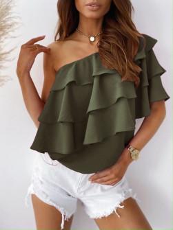 Γυναικεία έξωμη μπλούζα 5121 σκούρο πράσινο