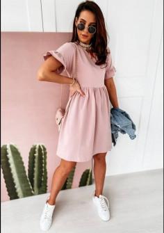 Γυναικείο χαλαρό φόρεμα 14676 ροζ